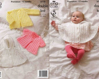 King Cole Knitting Pattern 3778~Lacy Hooded Cape & Jackets~DK~12-20""