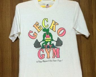 80s Vintage 1987 Hawaii Gecko Gym Tshirt Neon Color Graphic