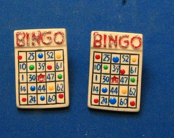 Vintage Bingo Card Colorful Earrings For Pierced Ears