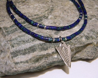 Azurite Necklace, Native American Jewelry, Boho, Tribal Necklace, Southwestern, Minimalist, Natural Stone, Heishi Necklace, Bohemian Neckace
