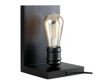 Black steampunk book end lamp