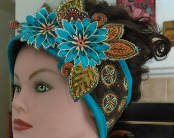 Teal Floral Winter Headband