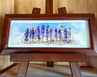 butterflies and salvia Small Painting
