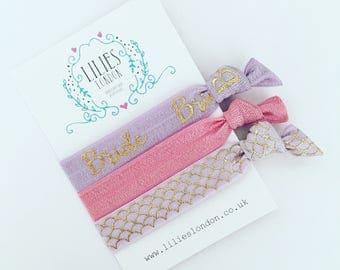 Lilac bride hairties, bride hairbands, gifts for the bride, ribbon hair ties, engagement gift, gentle hair ties, hair ties bangle, bracelets