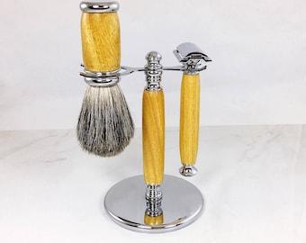 Handmade 3 Piece Shaving Set, Wood Shaving Kit,  Razor and Badger Brush Set, Grooming, Gift for Him, Wet Shave Set, Valentines Day Gift