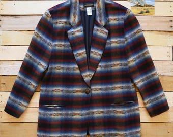 Vintage Women's Oversized Large 16 Southwestern Blanket Blazer Jacket REQUIREMENTS Made in USA 90s Aztec Pattern