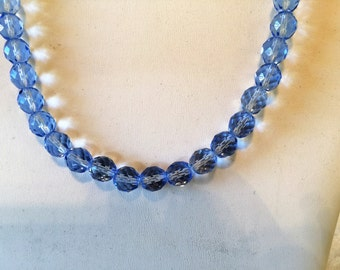 Blue Crystal Beaded Silver Tone Necklace