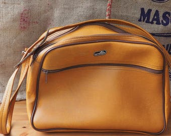 Vintage Crown Messenger Bag Flight Bag Weekend Bag Brown Messenger Bag Retro Boho  Vintage Luggage