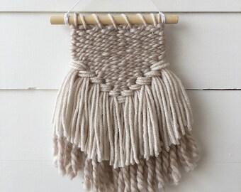 Small woven wall hanging, woven wall art, weaving, fiber art