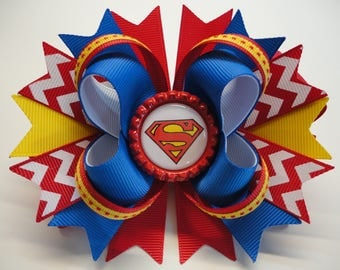 """SUPERGIRL Boutique Stacked Hair Bow  W5.0"""" x L4.5"""" x H2.0"""""""
