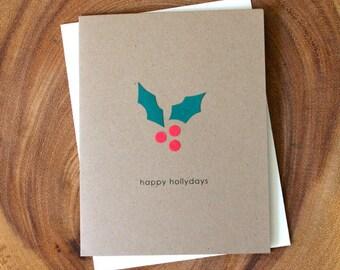 Holly Christmas Card - Happy Hollydays - Holly Berries Holiday card