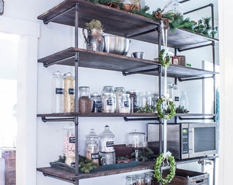 Industrial Pipe Shelving Unit | Industrial Shelves | Rustic Shelf | Pipe bookcase | Pipe Shelving | Rustic Industrial Pipe Wood Shelving