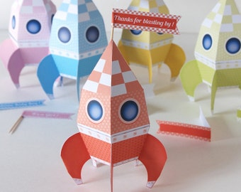 Boîtes fusée Printable éditable, fusée boîte cadeau, fusée paper toy, cadeau fête prénatale, cadeau fête Espace et cosmonaute, DIY