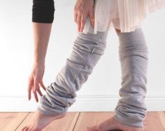 Blass grau Ballett Stulpen, Frauen-Stulpen in Baumwoll-Fleece, Tanzbekleidung, Geschenk für Sie