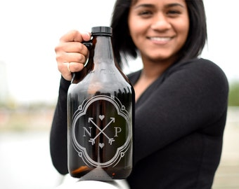 Custom Engraved & Personalized 64oz Wedding Gift Beer Growler. FREE Engraved Coaster and Growler Pouch.  DHL Overnight Upgrade included!