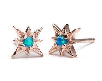 Peacock Blue Opal Starburst Stud Earrings, Sterling Silver, Gold Plated, North Star Studs, Minimal Lunaijewelry, Handmade Gift, STD049O36