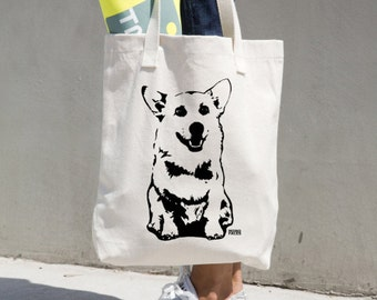 Welsh Corgi Tote Bag, Corgi Gifts, Customized Gifts For Her, Personalized Dog Lover Gift, LA Apparel Tote, Reusable Shopping Tote Bag