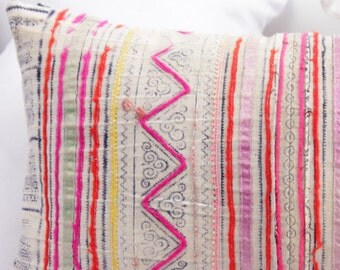 "Boho Bohemian RARE VINTAGE Handmade HMONG Textile Batik & Embroidered Ethnic Made A Piece Of Tradition Costume Pink Pillow Case 12"" x 20"""