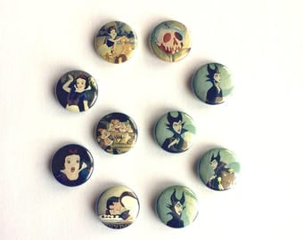 Snow White and the Seven Dwarfs 1 inch pinback buttons // Maleficent Buttons // Classic Disney Buttons