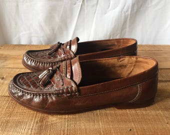 Mens Vintage Italian Loafers - Genuine Dark Brown Leather - Made in Italy - Retro Boat Shoes Wedding Slip On European Flat Shoe