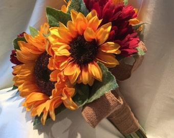 Rustic Bride Bouquet Sunflowers & Gerbera