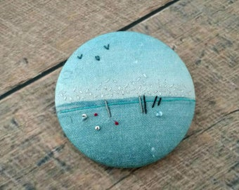 Embroidered brooch, textile brooch, brooch Bay of Arcachon