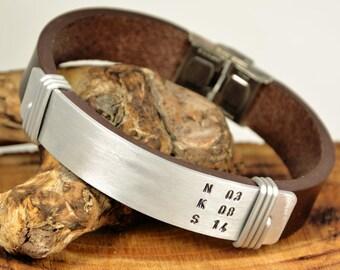 FAST SHIPPING, Men's Leather Bracelet, Men Personalize  Bracelet, Leather Men Bracelet, Father Days Bracelet, Men Silver Bracelet, Mens Gift