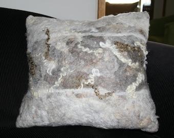 Wet Felted Throw Cushion