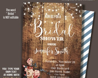 Bridal Shower Invitation, rustic shower invite, Wedding shower, Printable Editable PDF file A447-A224