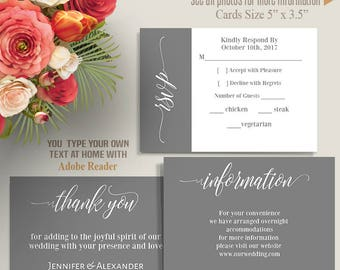 Printable Insert cards, Gray RSVP, information and Thank You cards, Instant Download, Self Editable PDF file IC113