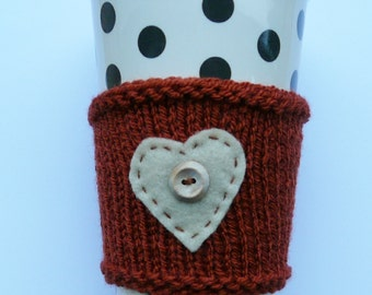 Coffee cup cosy, handknit cup cosy, coffee sleeve, knitted coffee cozy, travel mug cosy, coffee cup sleeve