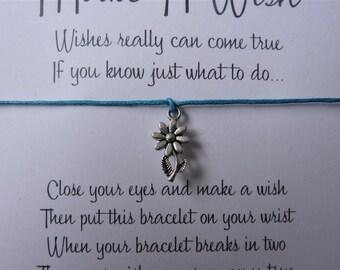 Wish Bracelet - Daisy / Flower Charm / Flower Bracelet / Silver Flower / Choice of colours / Wish Knots