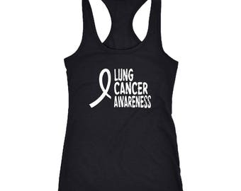 Lung Cancer Racerback Tank Top T-Shirt. Funny Lung Cancer Tank.