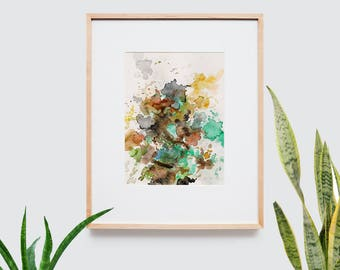 Abstract art composition - Contemporary art - Watercolor Print - Limited edition. Topos I.