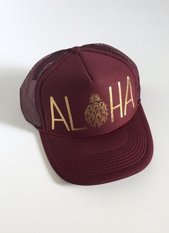Aloha Pineapple Hat| Merlot| Aloha Trucker Hat| Aloha Hat| Trucker Hat| Hawaii Hat| Pineapple Hat| Pineapple| Beach Hat| Burgundy Hat