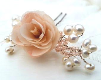 Wedding Hair Flower Pins Bridal Hair Rose Pin Pearl Hair Accessories Silk Rose Hair Piece Wedding Hair Flower Bridal Headpiece