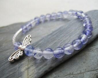 amethyst purple clear fairy wing 6mm bead stretchy bracelet gift for her pretty silver tone fairy wings summer birthday modern zen jewellery