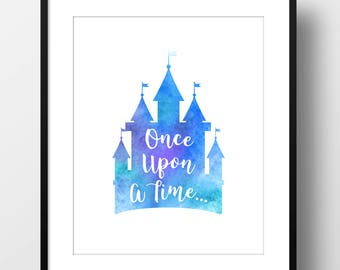 Once Upon a Time Castle Wall Art, Watercolor Digital Print, Art Print, Instant Download