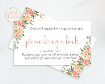 Peach Baby Shower Bring a Book Request, Book Request Card, Printable Baby Shower Insert, Book Card, Bring a Book Insead Of A Card, Floral