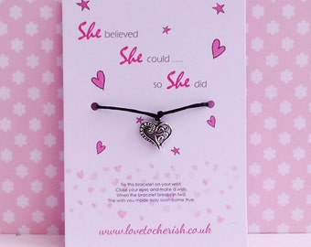 She Believed She Could So She Did - Wish / Friendship / Motivational Quote Bracelet - Ornate Heart Charm Wishing/Handmade Gift - Motivation