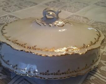"Vintage Homer Laughlin Hudson Gold Trim White Covered Oval Vegetable Bowl Handle Vegetable 8"", tureen, covered bowl, shabby chic, cottage"