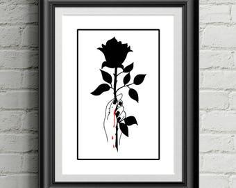 The Black Rose / Rose Print / Art Print / Black and White / Wall Art / Wall Decor
