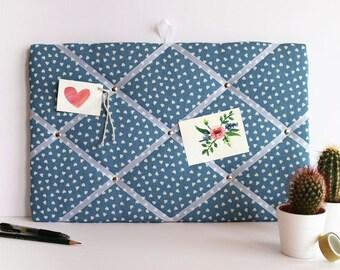 Fabric notice board, blue heart patterned fabric, padded notice board, 48x32cm, small heart pattern fabric memo board