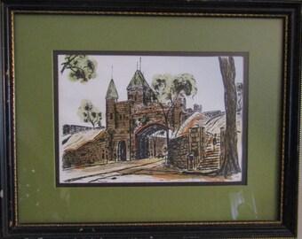 Canadian Vieux-Québec original watercolor signed Ray