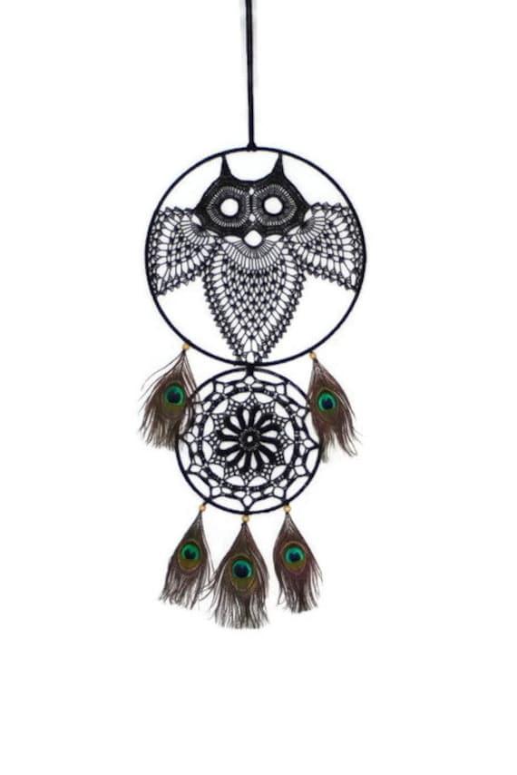 Description. Large Crochet Owl Dreamcatcher, Crochet Owl Wall Decor ...