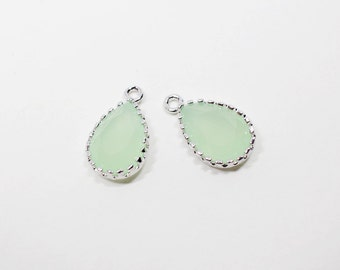 G000707P/Light Mint/Rhodium plated over brass/Small tear drop shape tooth framed faceted glass pendant/8mm x 13.5mm /2pcs