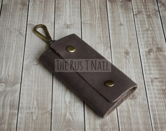 FREE SHIPPING - Distressed Leather Key Pouch - Key Case - Brown