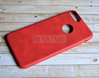 FREE SHIPPING - Red iPhone 7 Plus Ultra Slim Leather Case