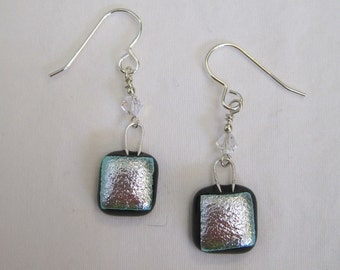 Silver Dichroic Glass Earrings - g0821e21