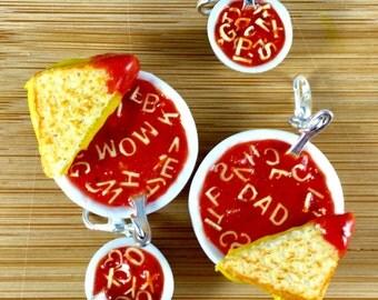 Customizable tomato alphabet soup polymer clay food charm jewelry